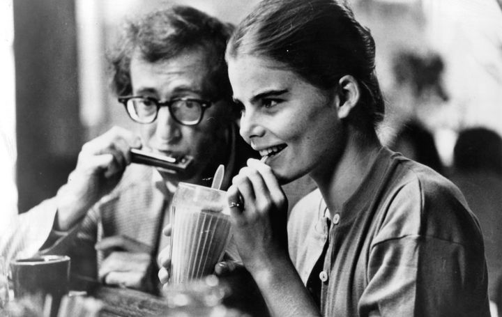"Woody Allen plays harmonica to Mariel Hemingway in a scene from the film ""Manhattan"" (1979)."