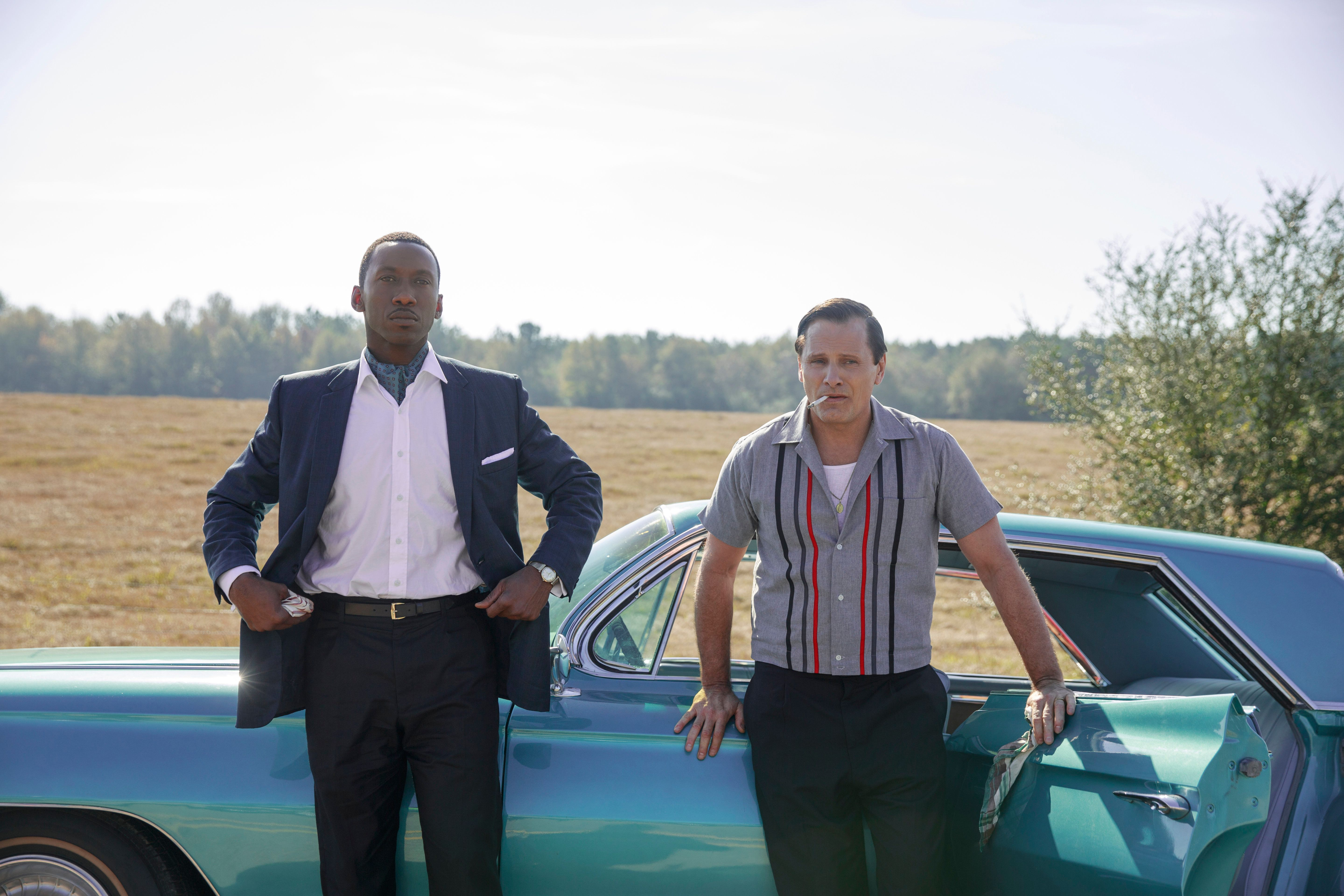 "Mahershala Ali as Don Shirley and Viggo Mortensen as Tony Lip in ""Green Book."""