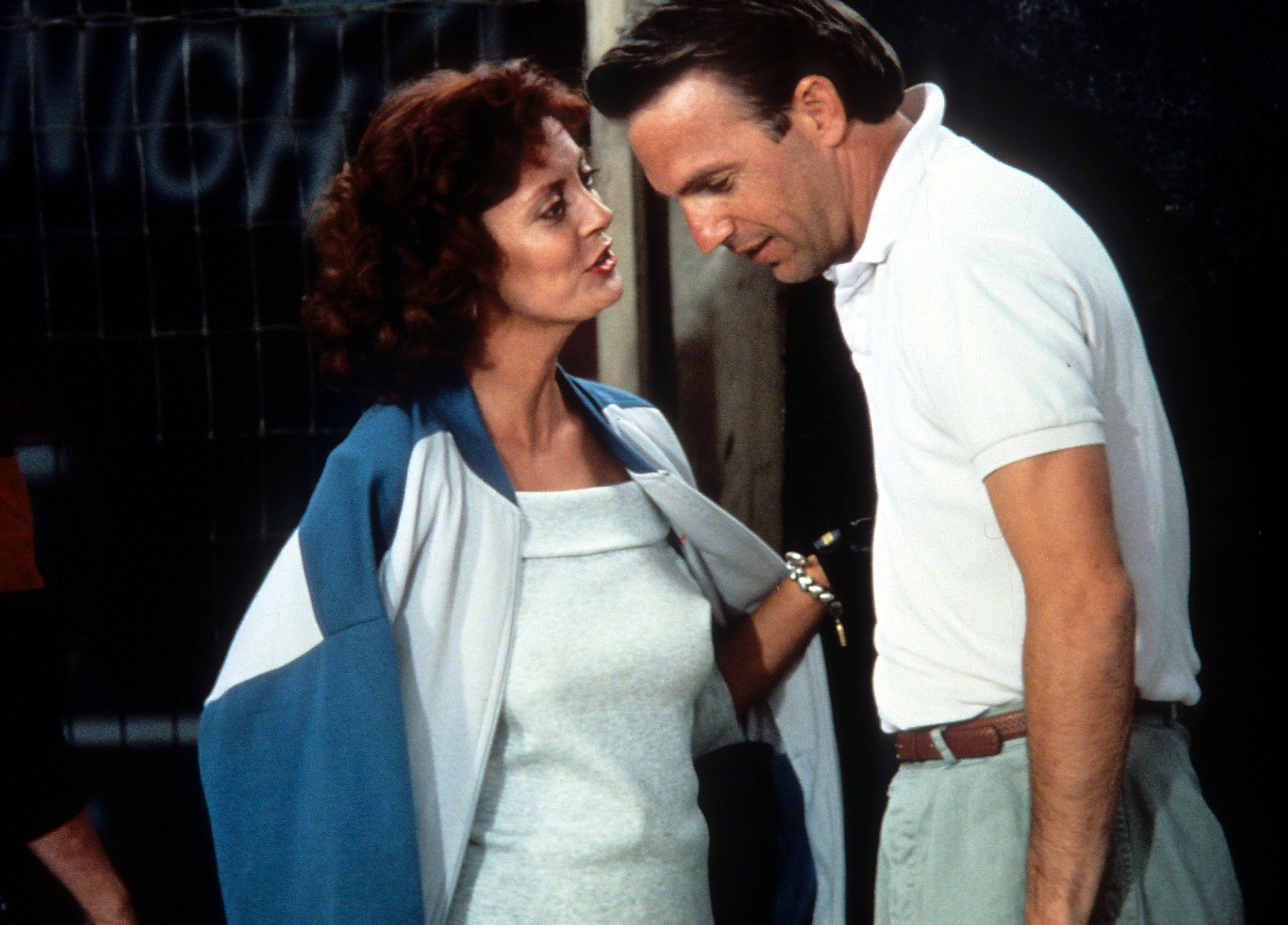 Kevin Costner and Susan Sarandon in a scene from the film 'Bull Durham', 1988. (Photo by The Mount Company/Getty Images)