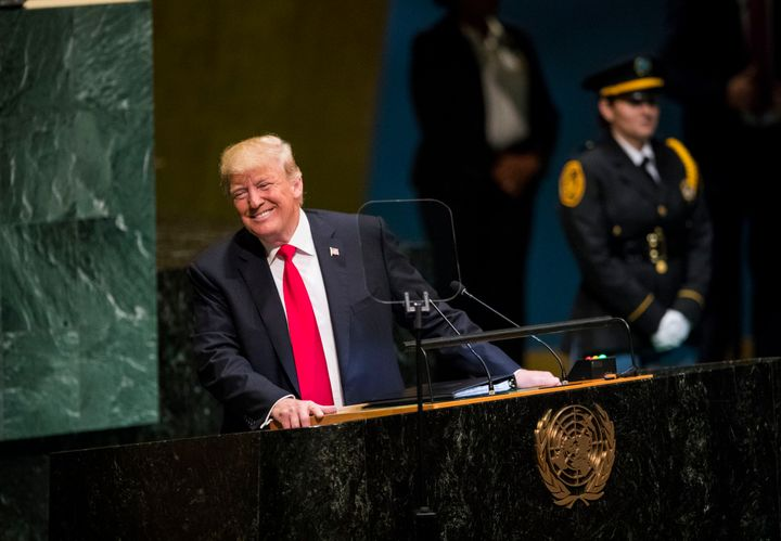 Trump reacts as the audience laughs during his speech at the General Debate of the 73rd session of the United Nations General