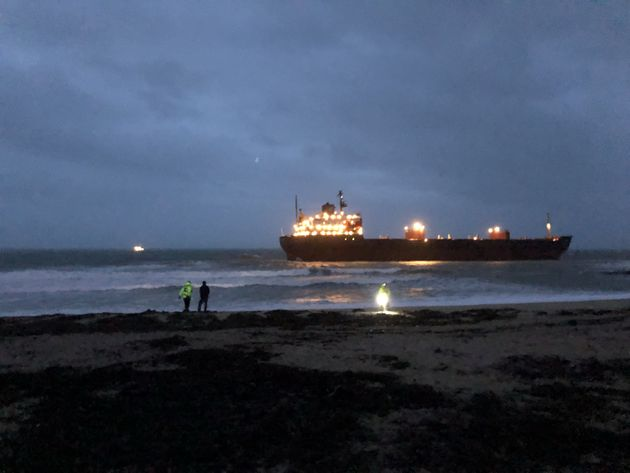 The ship ran into ground on Tuesday