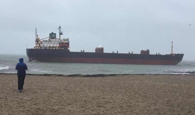 The huge vessel is stranded just off Falmouth