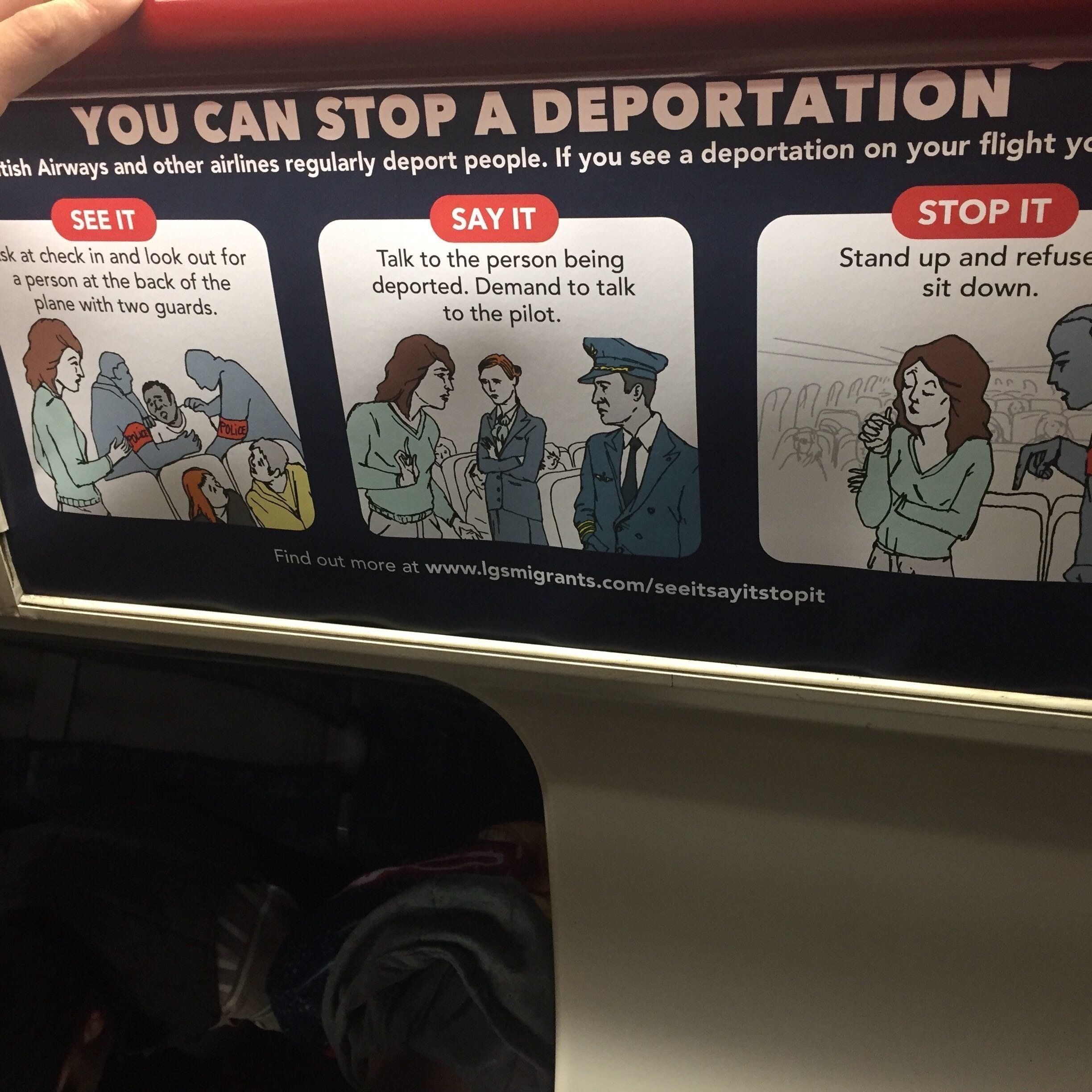 Anti-deportation posters appeared on the Tube on Tuesday