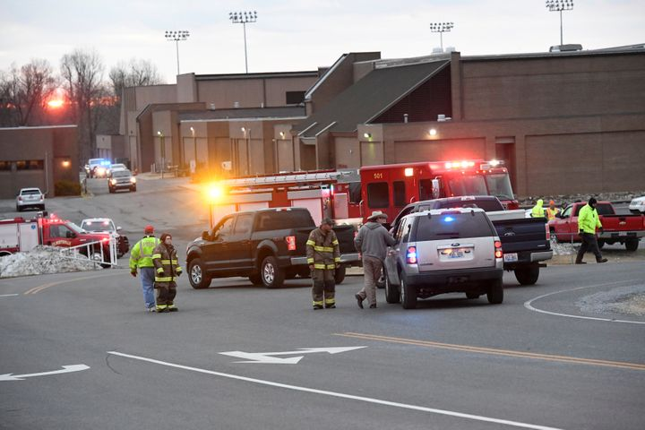 Emergency responders outside Marshall County High School in Kentucky following a school shooting that killed two and wounded