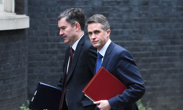 Justice Secretary David Gauke and Defence Secretary Gavin Williamson arrive for the cabinet