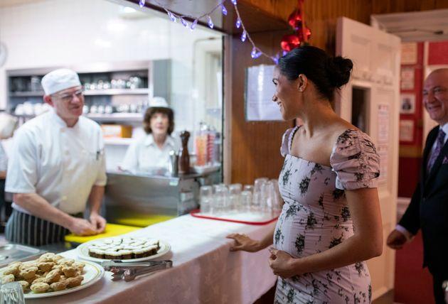 The duchessspeaks to head chef Stuart Jones during her visit to Brinsworth