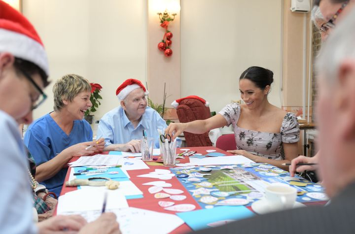 The duchess did arts and crafts with some of the Brinsworth House residents.