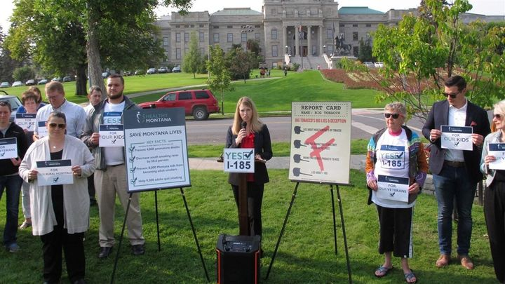 Activists gather in front of the Montana Capitol in support of a measure to continue Medicaid expansion in the state. Voters