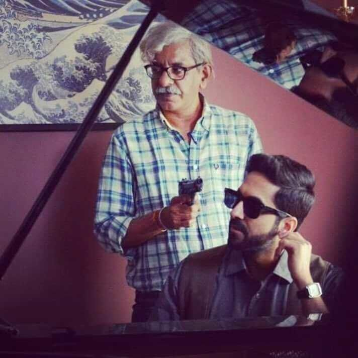 Raghavan and Khurrana on the sets of 'AndhaDhun'.