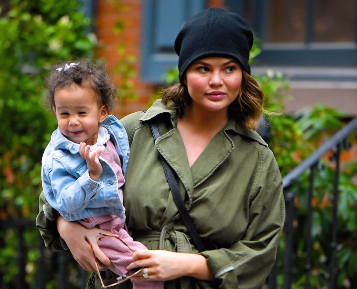 Chrissy Teigen and her daughter Luna Legend seen out shopping in Manhattan in February.