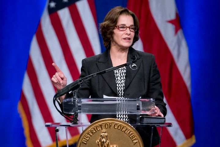 D.C. Councilwoman Mary Cheh (D) speaks during the 2015 District of Columbia Inauguration ceremony at the Convention Center in