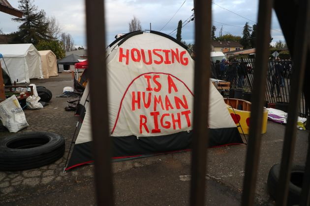 A tent at a homeless encampment in Oakland,