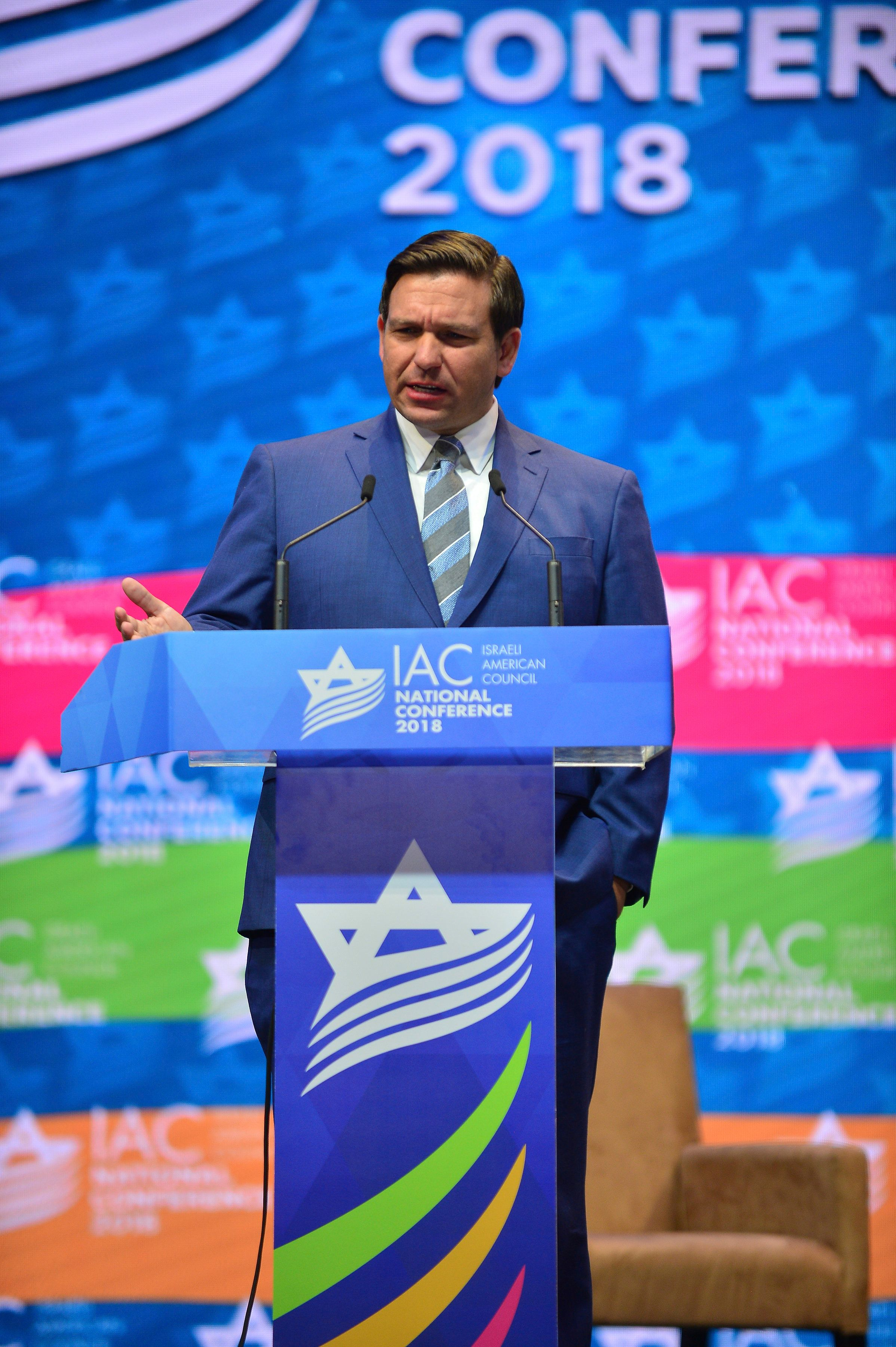 HOLLYWOOD, FL - NOVEMBER 30: Florida Governor elect Ron DeSantis attends and speak at the 5th Israeli-American Council National Conference at the Westin Diplomat Resort Hollywood on November 30, 2018 in Hollywood, Florida. Credit: MPI10 / MediaPunch /IPX