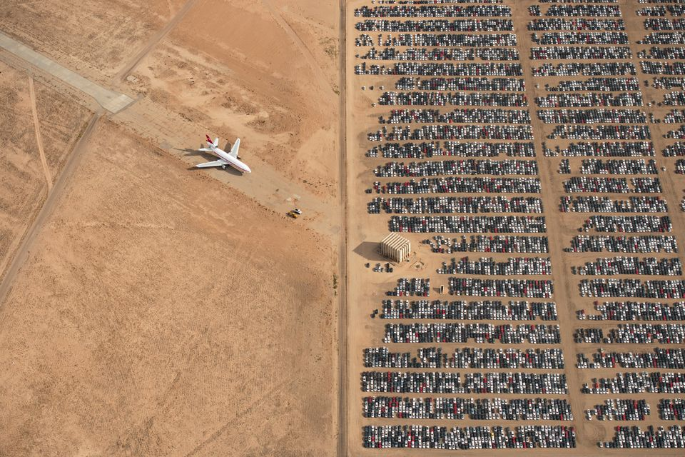 Recalled Volkswagen and Audi cars parked in California's Mojave