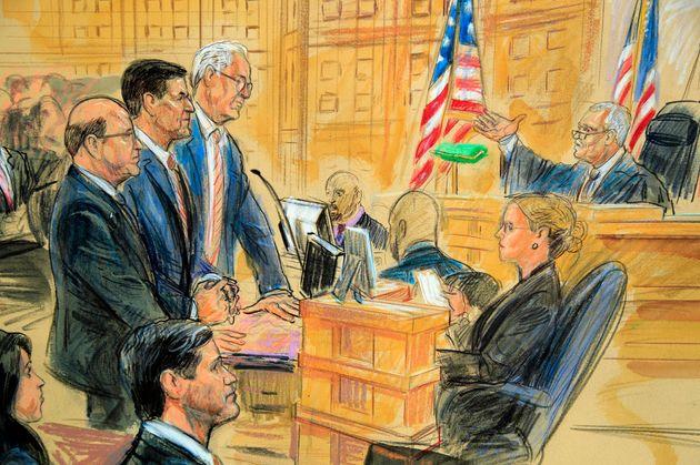 18일, 워싱턴DC 연방지방법원에서 열린 마이클 플린 전 백악관 국가안보보좌관 선고공판 장면 스케치. (Dana Verkouteren via