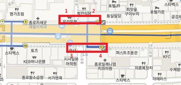 종각역 11, 12번 출구 주변 양방향 승차수요가 많은 지점 승차대