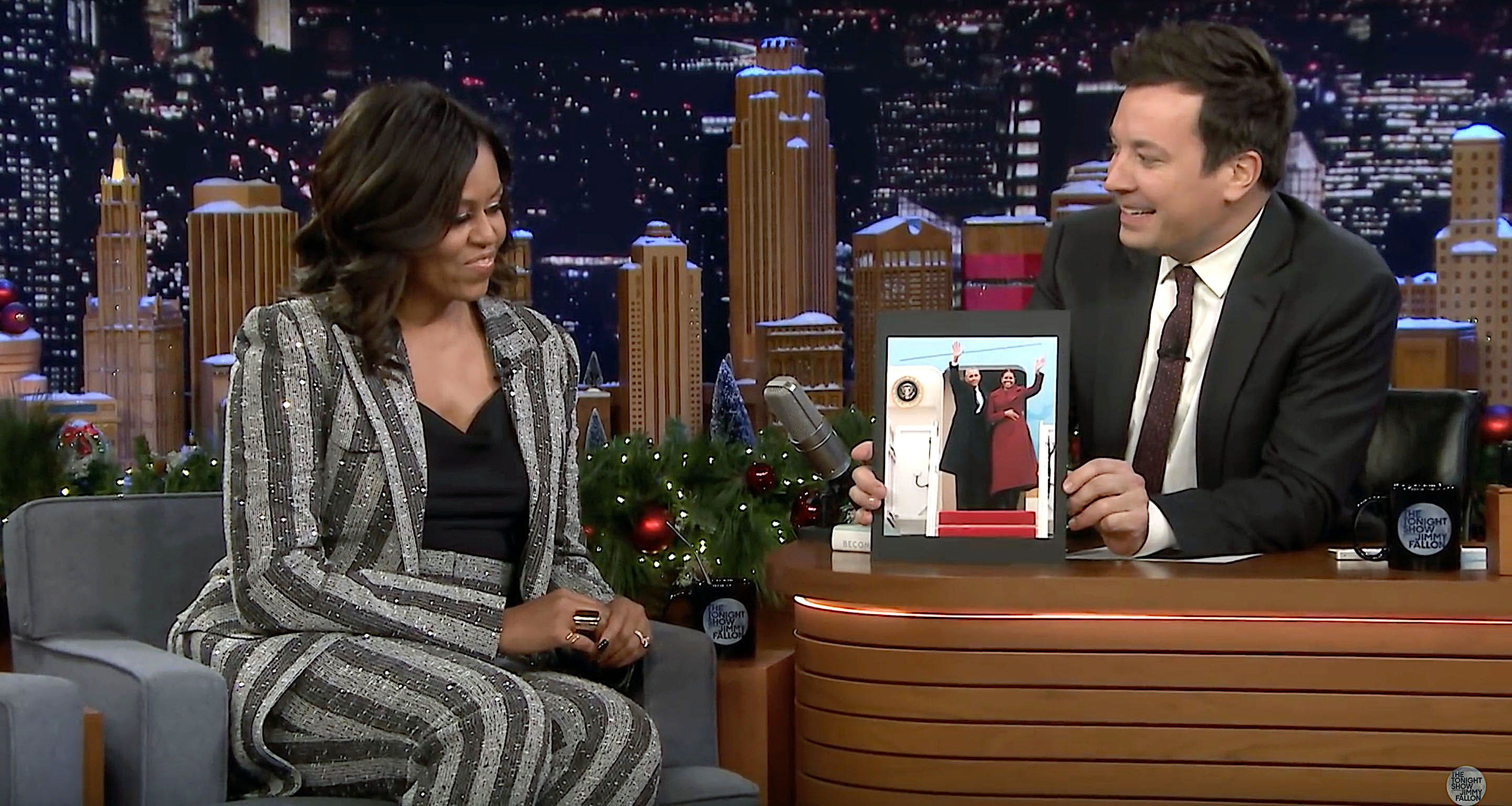 "Former first lady Michelle Obama discusses her book with Jimmy Fallon on ""The Tonight Show."""