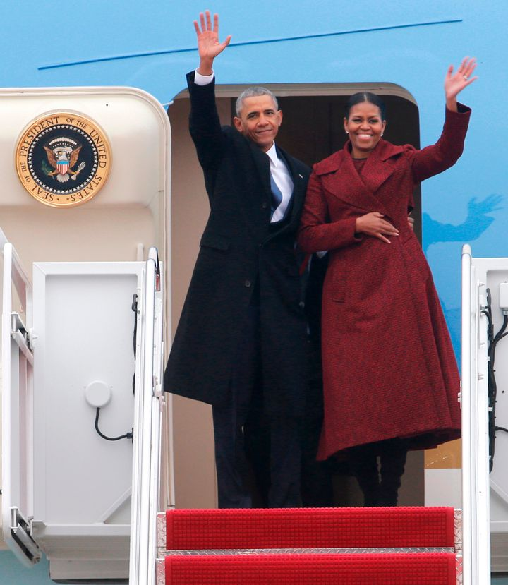 Former President Barack Obama and his wife, Michelle, leaving Andrews Air Force Base after the inauguration of President Dona