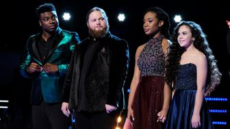 THE VOICE -- 'Live Finale Results' Episode 1519B -- Pictured: (l-r) Kirk Jay, Chris Kroeze, Kennedy Holmes, Chevel Shepherd -- (Photo by: Trae Patton/NBC/NBCU Photo Bank via Getty Images)