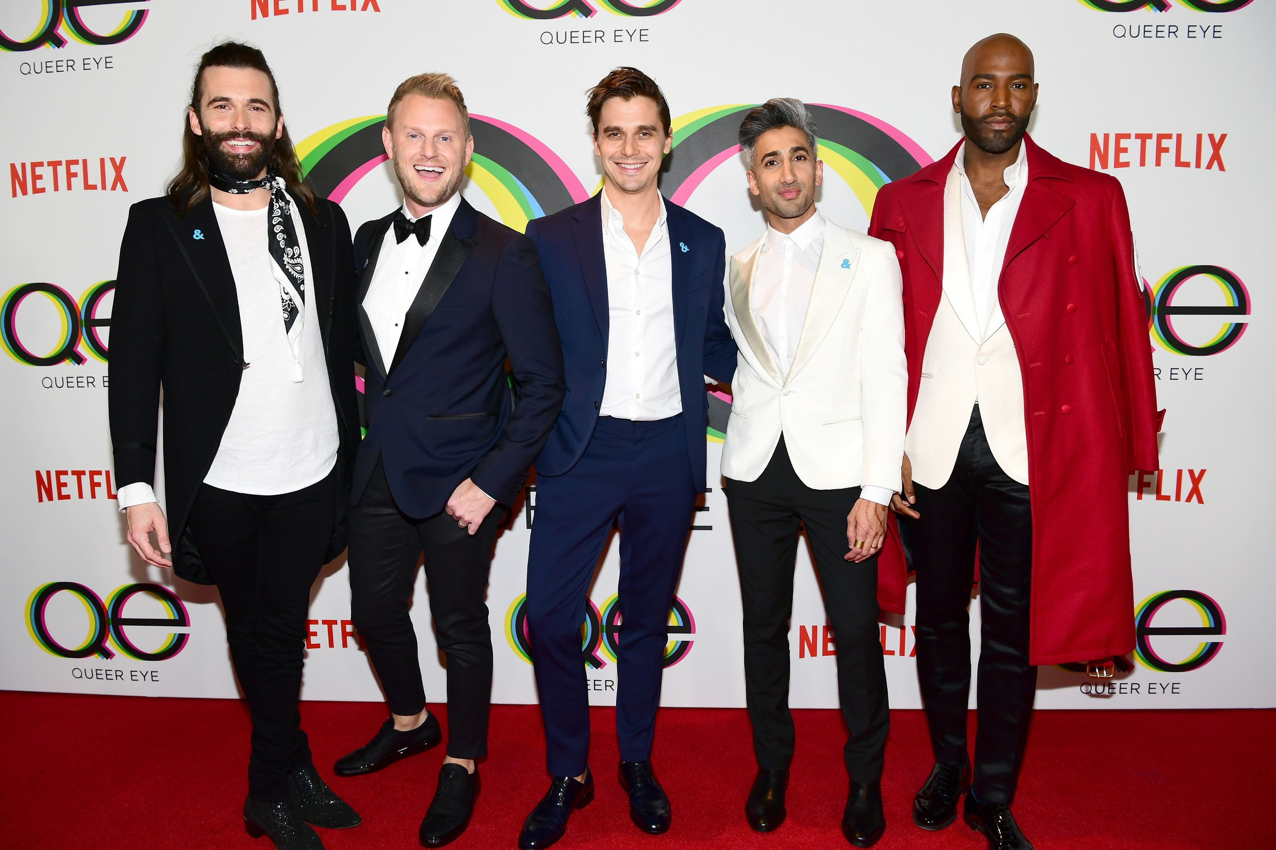 Left to right: Jonathan Van Ness, Bobby Berk, Antoni Porowski, Tan France and Karamo Brown