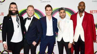 WEST HOLLYWOOD, CA - FEBRUARY 07:  (L-R) Jonathan Van Ness, Bobby Berk, Antoni Porowski, Tan France, and Karamo Brown attend the premiere of Netflix's 'Queer Eye' Season 1 at Pacific Design Center on February 7, 2018 in West Hollywood, California.  (Photo by Emma McIntyre/Getty Images)
