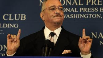 Date: April 28, 2008 Assignment no: 201065 slug: na-wright  National Press Club  Rev. Jeremiah Wright addresses Press Club Photographer: Gerald Martineau  The Rev. Jeremiah W. Wright, jr., Sr. Pastor of the United Church of Christ in Chicago, gives a speech and answers questions at a National Press Club breakfast.  (Photo by Gerald Martineau/The Washington Post/Getty Images)
