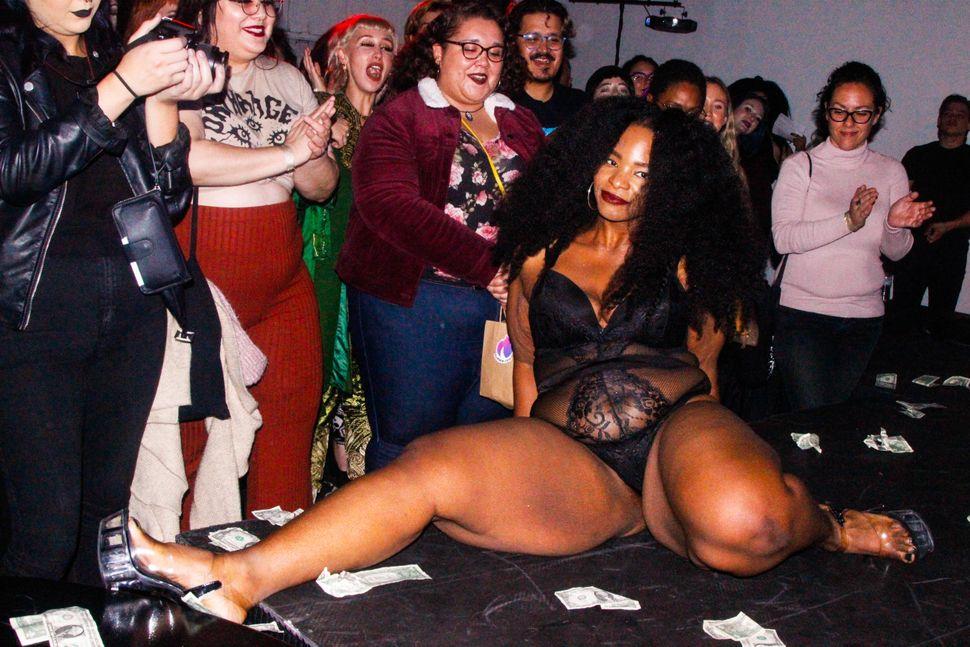 Amaya strikes a pose during Thicc Strip.
