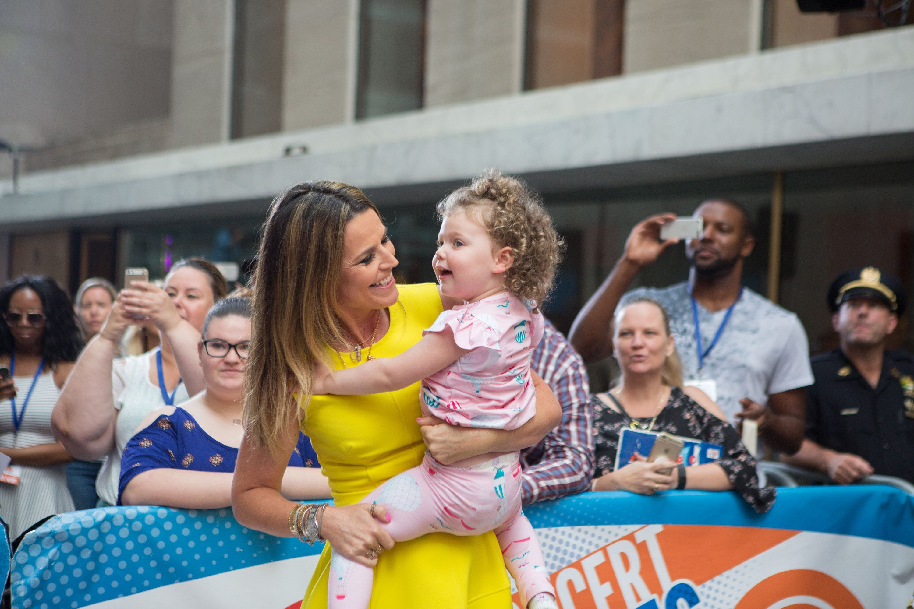 TODAY -- Pictured: Savannah Guthrie with daughter Vale on Friday, July 28, 2017 -- (Photo by: Nathan Congleton/NBC/NBCU Photo Bank via Getty Images)