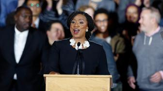 Democrat Ayanna Pressley gives her victory speech at an election night party after being elected to represent Massachusetts' 7th congressional district, Tuesday, Nov. 6, 2018, in Boston. (AP Photo/Michael Dwyer)