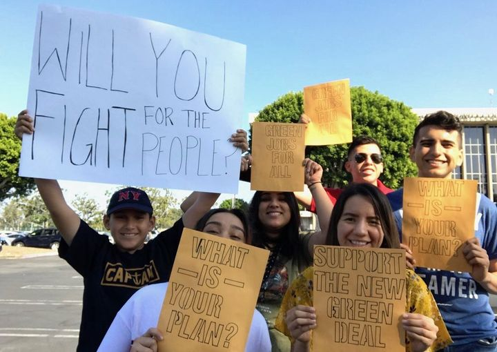 Advocates rally for a Green New Deal.