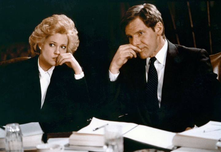 "Melanie Griffith and Harrison Ford in ""Working Girl."""