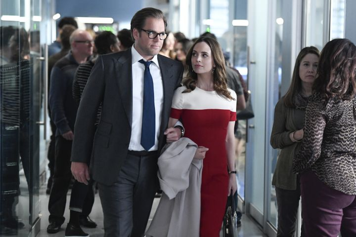 """Michael Weatherly and Eliza Dushku in """"Bull."""" Dushku accused Weatherly of sexual harassment after her appearances on the show"""