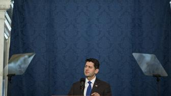 U.S. House Speaker Paul Ryan, a Republican from Wisconsin, delivers a farewell address at the Library of Congress in Washington, D.C., U.S., on Wednesday, Dec. 19, 2018. Ryan may cap off his time as House speaker by shutting down part of the federal government, barring an unexpected breakthrough this week. Photographer: Zach Gibson/Bloomberg via Getty Images