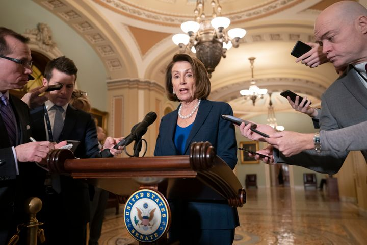 House Democratic Leader Nancy Pelosi (Calif.), the speaker-designate for the new Congress in January, talks to reporters on T