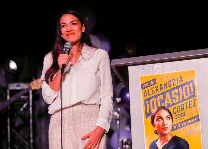 Rep.-elect Alexandria Ocasio-Cortez (D-N.Y.) speaks to supporters in Queens, N.Y., after winning the general election on Nov.