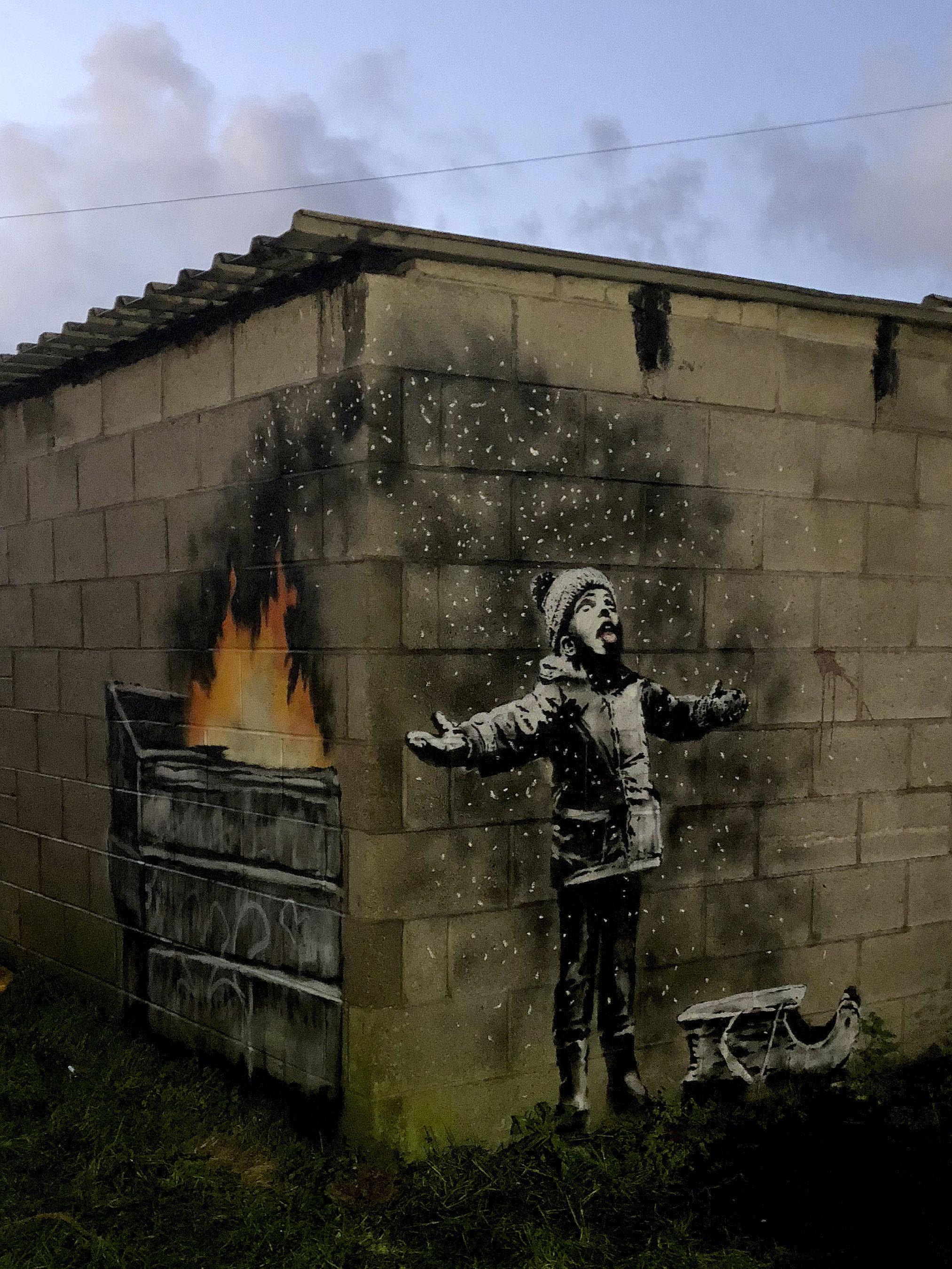 뱅크시가 크리스마스를 맞아 그린 그림에는 '환경 오염에 대한 경고'가