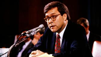United States Deputy Attorney General William P Barr testifies before the US Senate Committee on the Judiciary during his confirmation hearing (to become Attorney General) on Capitol Hill, Washington DC, November 12, 1991. (Photo by Ron Sachs/Consolidated News Pictures/Getty Images)
