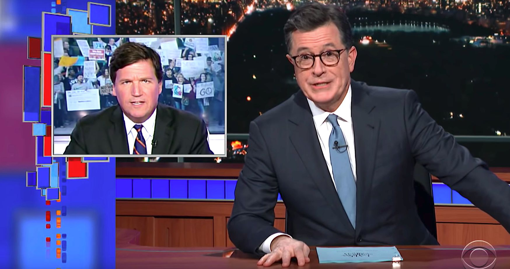 Tucker Carlson and Stephen Colbert