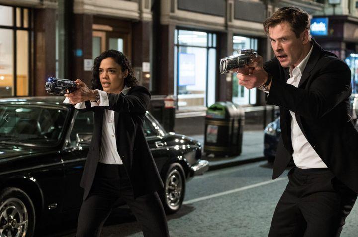 "Tessa Thompson and Chris Hemsworth star in ""Men In Black International."""