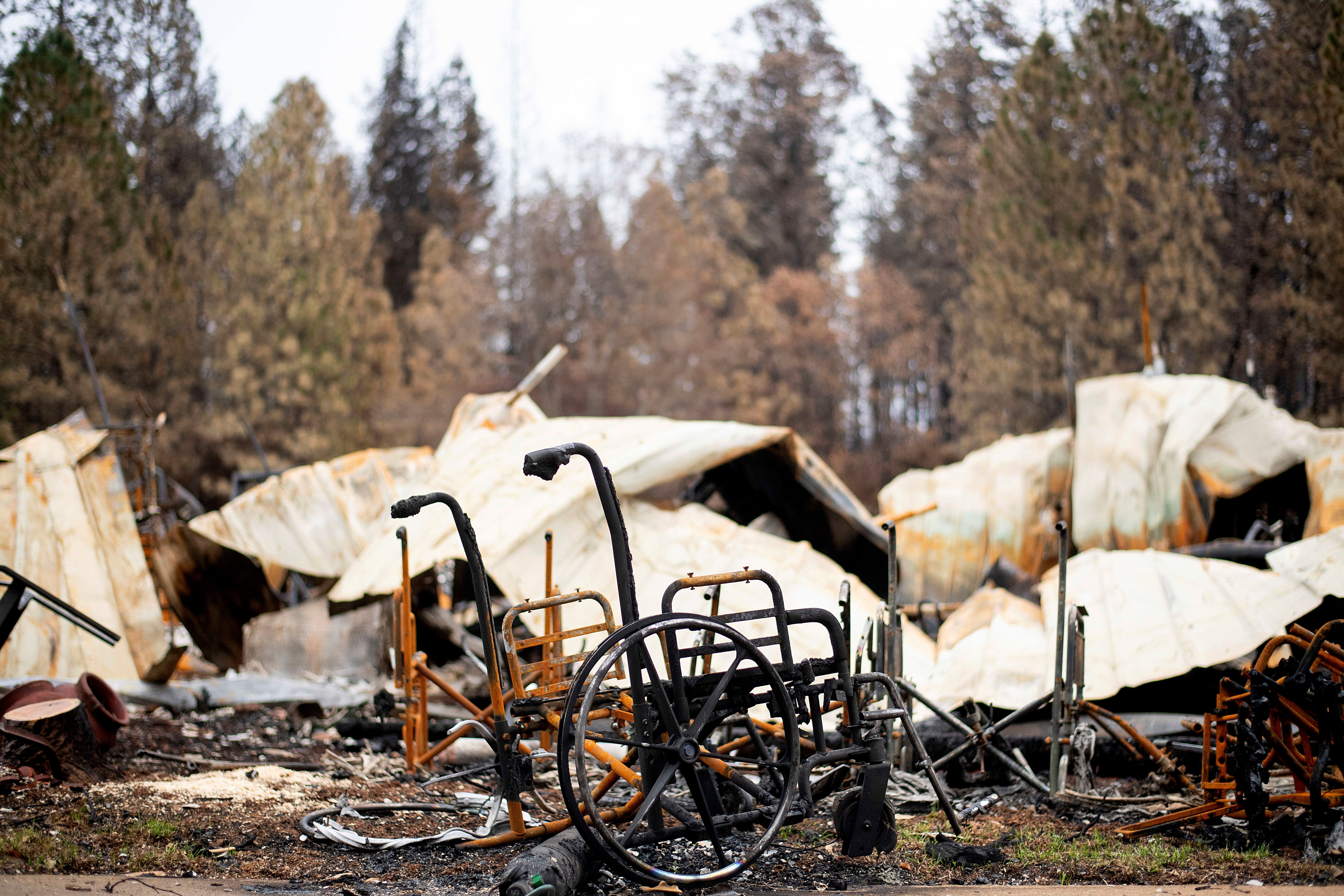 Emergency responders found several wheelchairs and walkers in the remains of Paradise, Calif. after the Camp fire wiped out t