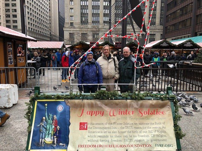 A Freedom From Religion Foundation banner was placed at Chicago's Daley Plaza this year. The display counters a Christian cre