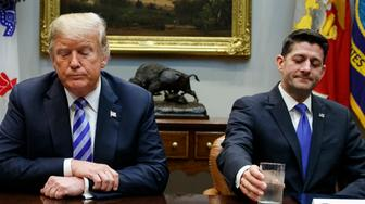 Senate Majority Leader Mitch McConnell, R-Ky., left, and Speaker of the House Rep. Paul Ryan, R-Wis., right, listen as President Donald Trump speaks during a meeting with Republican lawmakers in the Roosevelt Room of the White House, Wednesday, Sept. 5, 2018, in Washington. (AP Photo/Evan Vucci)