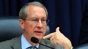 """House Judiciary Committee Chairman Bob Goodlatte, R-Va., questions witness FBI Deputy Assistant Director Peter Strzok, during a joint hearing on """"oversight of FBI and Department of Justice actions surrounding the 2016 election"""" on Capitol Hill in Washington, Thursday, July 12, 2018. (AP Photo/Manuel Balce Ceneta)"""