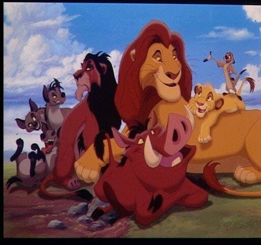 """The Lion King"" cast: (l-r) Hyenas, Scar, Mufasa, Pumbaa, Simba and Timon, photo"
