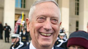 Secretary of Defense Jim Mattis speaks with reporters before welcoming Lithuanian Minister of National Defense Raimundas Karoblis to the Pentagon in Washington, Wednesday, Nov. 28, 2018. (AP Photo/Cliff Owen)