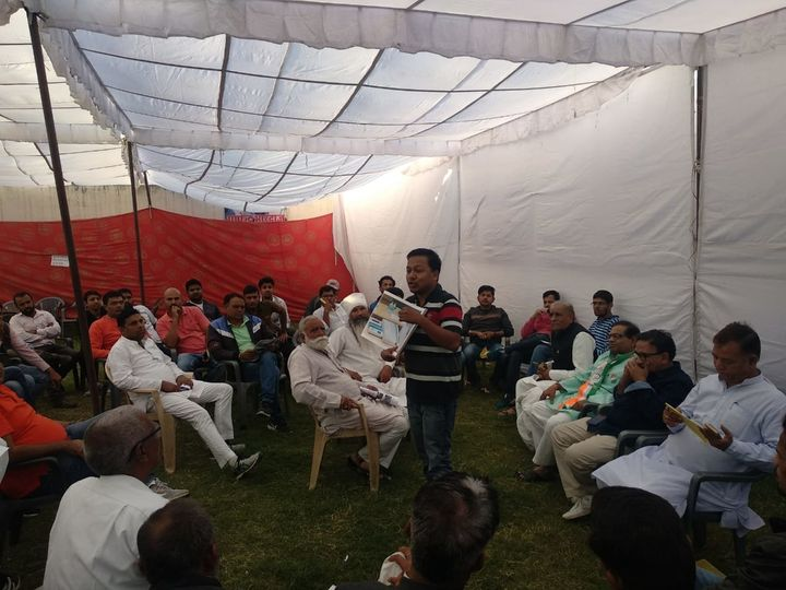 Jinda Sandbhor with Congress workers in Rajasthan during a training session.