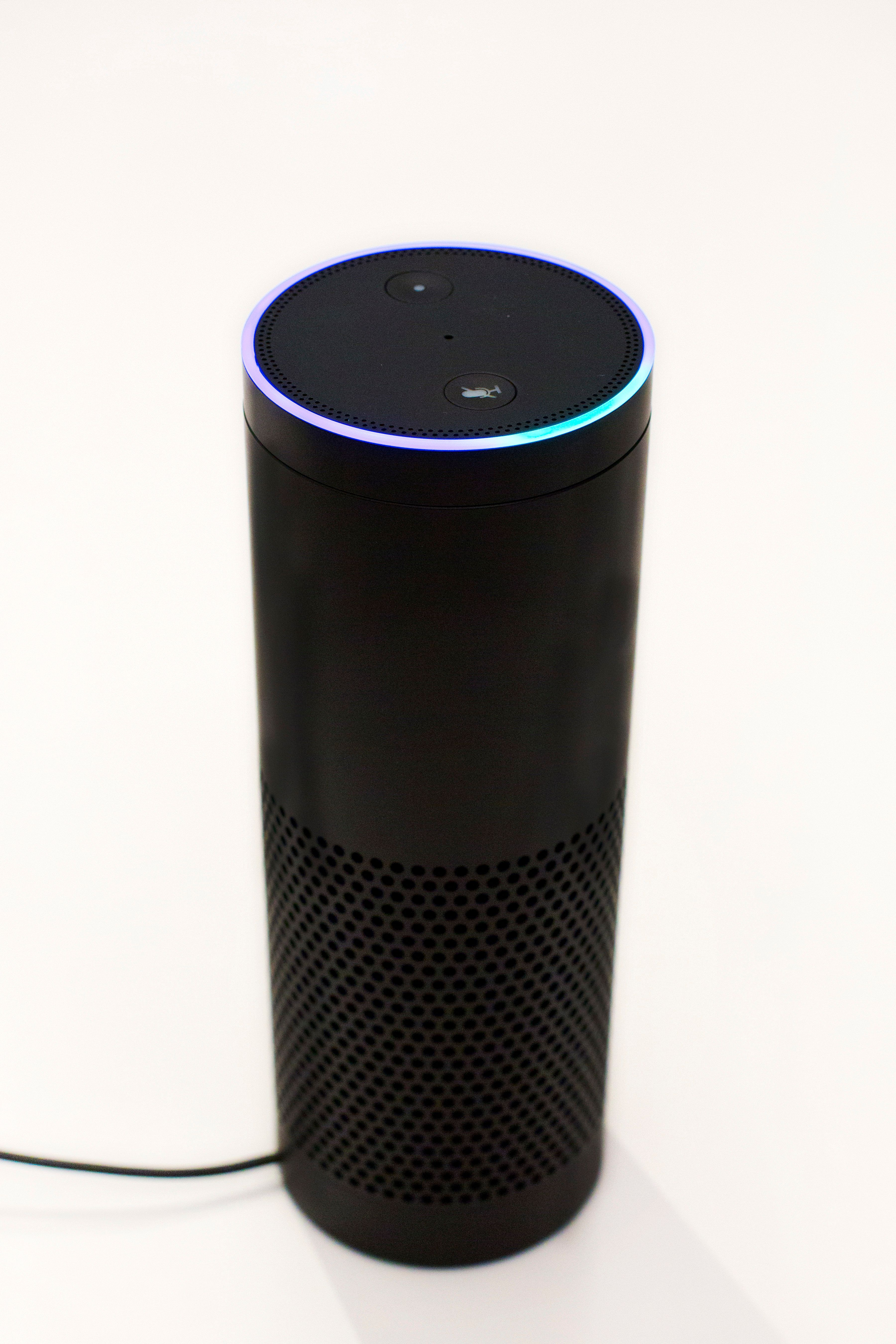 In this June 14, 2018, photo an Amazon Echo is displayed in New York. Big banks and financial companies have started to offer banking through virtual assistants, Amazon's Alexa, Apple's Siri, and Google's Assistant, in a way that will allow customers to check their balances, pay bills and, in the near future, send money just with their voice. Regional banking giant U.S. Bank is the first bank to be on all three services, Alexa, Siri and Assistant. (AP Photo/Mark Lennihan)