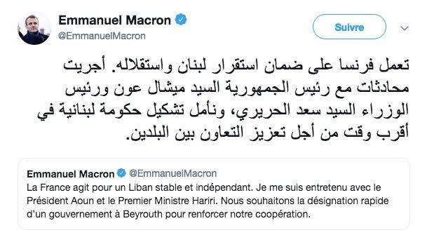 Ce tweet en arabe du président français Emmanuel Macron a fait réagir les