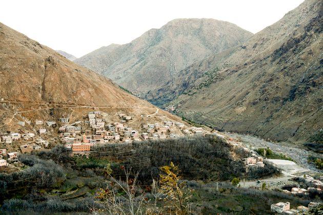 Le village d'Imlil, dans les montagnes de l'Atlas, où la Norvégienne Maren Ueland et la...
