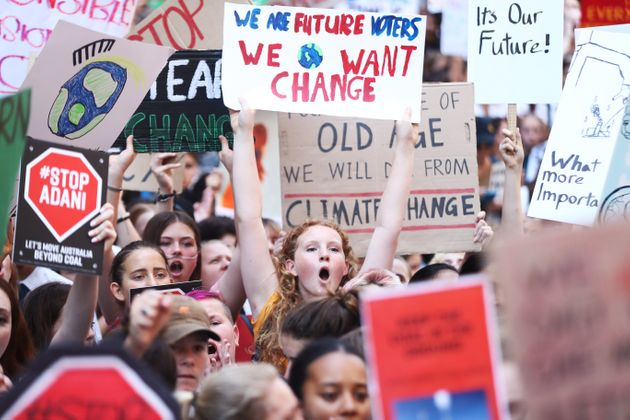 Students gather to demand the government take action on climate change on Nov. 30, 2018 in Sydney, Australia....
